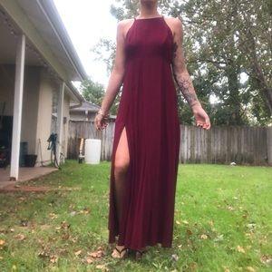 Red Forever 21 long double slit dress